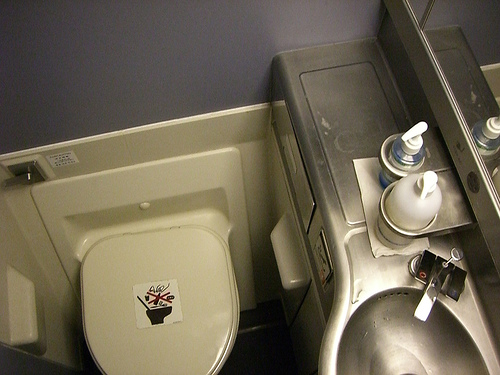 The plane bathroom on a Singapore Air flight by scurzuzu on flickr