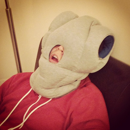 This is the Ostrich Pillow. You can get one of these and wear it on a plane. Seriously.  Photo by Kevin Hale on flickr